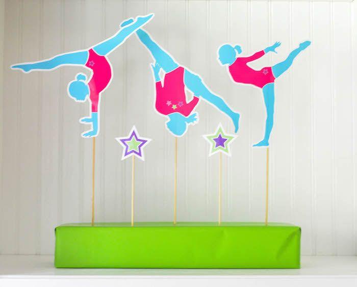 Gymnastics themed birthday party via Kara's Party Ideas KarasPartyIdeas.com Cake, decor, invitation, printables, cupcakes, and more! #gymnasticsparty #gymnastics (31)