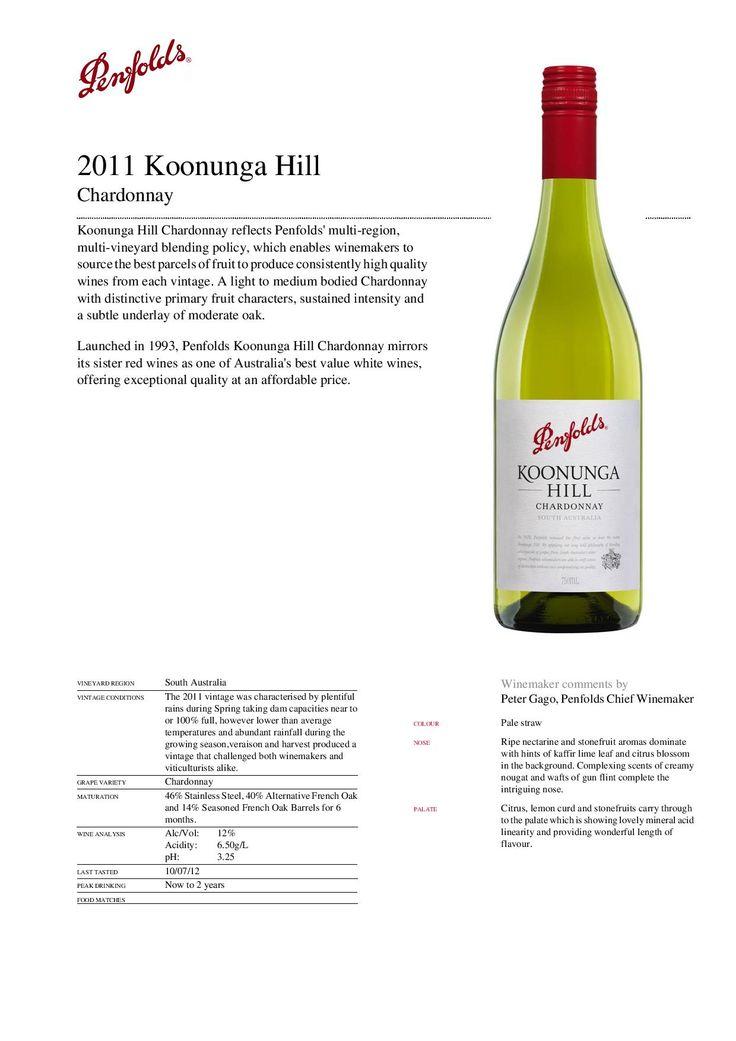 2010 Penfold's Koonunga Hill Chardonnay. Had it as a Special Wine of January 2015. Nice. 88/100