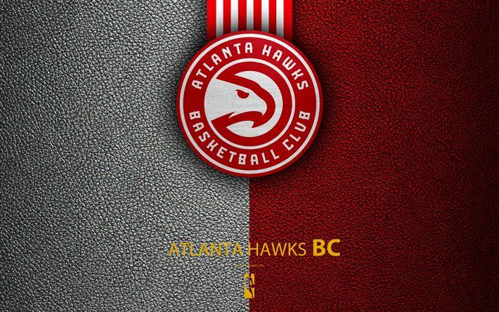 Download wallpapers Atlanta Hawks, 4K, logo, basketball club, NBA, basketball, emblem, leather texture, National Basketball Association, Atlanta, Georgia, USA, Southeast Division, Eastern Conference