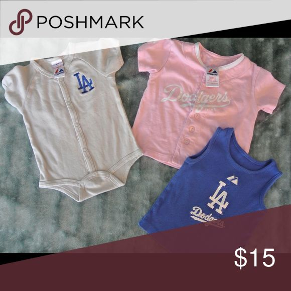 Dodgers- Girls 12 Month Majestic Shirts Dodger Gear for your little one! All 3 are 12 Month size.  Normal wear use, no stains, tears, or rips.  Can always wear around 9 months to get more use out of them! Majestic Shirts & Tops