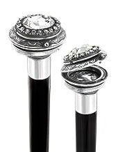 FashionableCanes.com...Small Knob Pewter Pillbox walking Stick with Large Swarovski Crystal and Black Beechwood Shaft