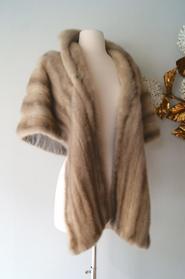 Vintage 1950s Mink Fur Wrap in Dove Grey. $198.00, via Etsy.