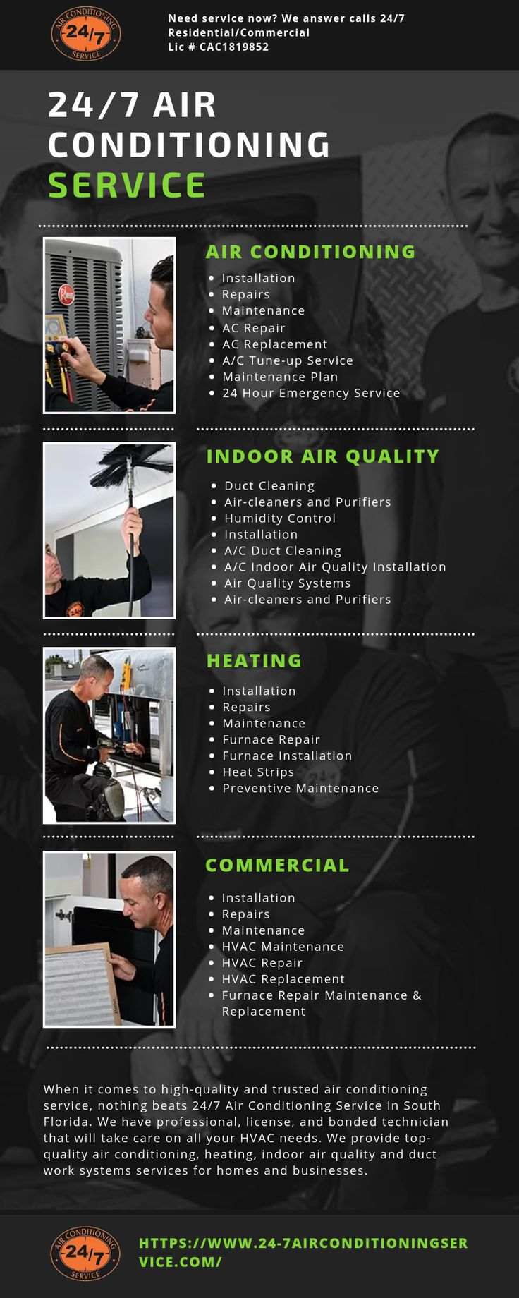 At 24/7 Air Conditioning Service, you can rest assured