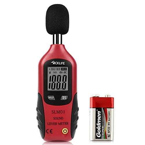 Tacklife SLM01 Classic Decibel Meter Portable Sound Level Meter Tester Measuring 30dBA~130dBA Accuracy within +/-1.5dBA Max/Min & Hold Function with Large LCD Screen Display 9V Battery Included  ▲Widely Applied to Work and Life - Perfect for monitoring noise levels in families, factories, offices, theaters and audio systems; You can test surround sound system to see exactly how much sound each to see if any adjustments need to be done  ▲Measurement Range and Accurate Reading - Measures...