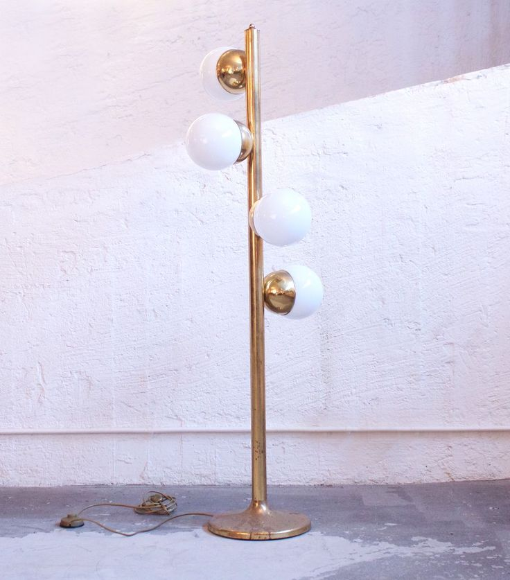 Dusty Deco - Italian Glass and Brass Ball Floor Lamp