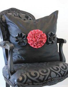 DIY Flower Throw Pillow made from an old handbag