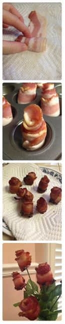 How to Make Bacon Roses #bacon #valentinesday #DIY: Rose Bacon, Rosen Aus, Bacon Roses Lol