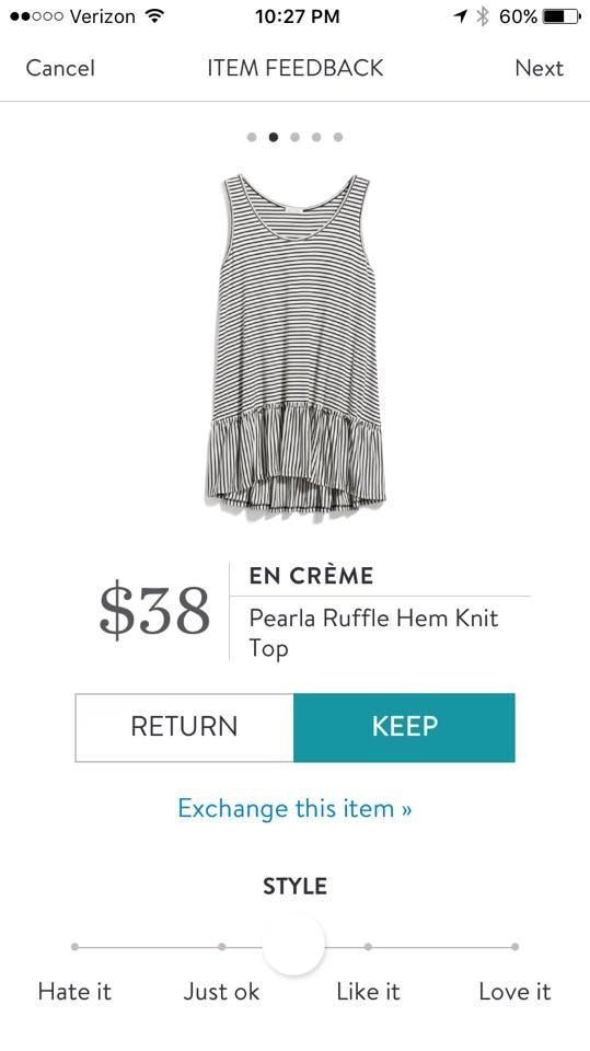 En Creme Pearla Ruffle Hem Knit Top. I love Stitch Fix! A personalized styling service and it's amazing!! Simply fill out a style profile with sizing and preferences. Then your very own stylist selects 5 pieces to send to you to try out at home. Keep what you love and return what you don't. Only a $20 fee which is also applied to anything you keep. Plus, if you keep all 5 pieces you get 25% off! Free shipping both ways. Schedule your first fix using the link below! #stitchfix @stitchfix…