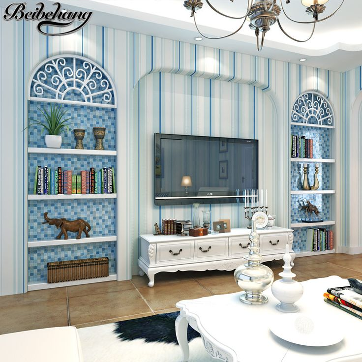 Beibehang Fresh Mediterranean Classic Blue Streaks Green Nonwoven Wallpaper  In The Living Room Bedroom Dining Room Part 96