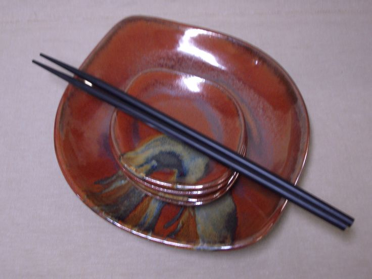 Sushi Set. High fired stoneware clay. From the studio of JulieAnne Hage. St. Albert, Alberta, Canada.