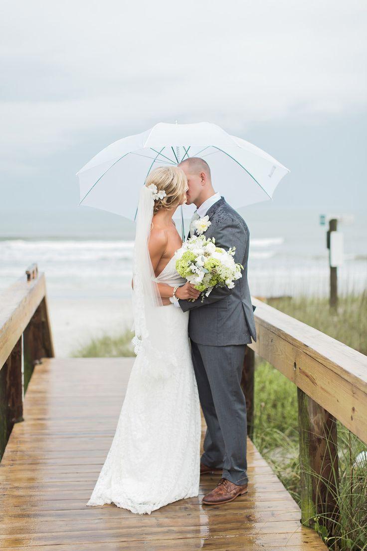 rainy day beach wedding portraits photo