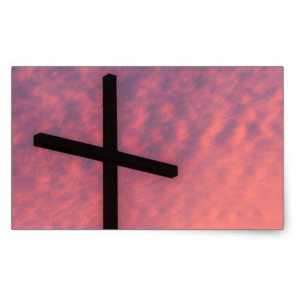 cross and sunset rectangular sticker - christmas craft supplies cyo merry xmas santa claus family holidays