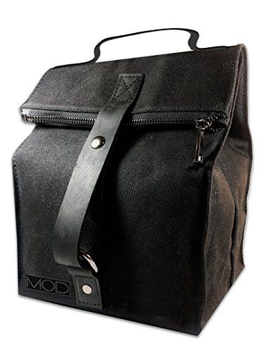 SALE PRICE - $44.99 - Deluxe Black Insulated Lunch Bag w Durable Zipper Closure, Soft Cooler Bag Thermal Lunch Tote with Leather Carrying Handle and Large Inside Pocket, Perfect for Work, Women, Men, Adults, Kids, by MOD
