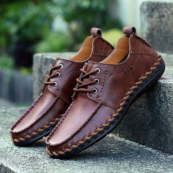 Men Genuine Leather Hand Stitching Casual Oxfords Shoes - US$45.87