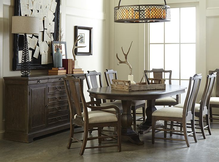 ART Furnitures St Germain Collection Double Pedestal Dining Table Arm And Side Chair