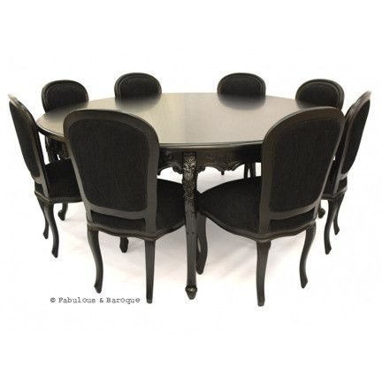 Gigi 78 round dining table 8 chairs black for 8 chair dining table