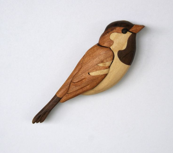 Sparrow Songbird Magnet Intarsia Wood Carving by EntwoodCrafts