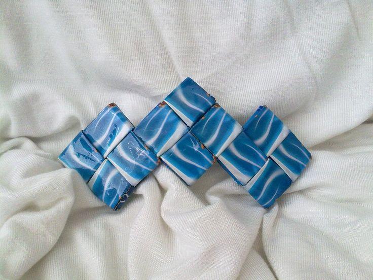Candy spona do vlasů - kafíčková - modrobílá