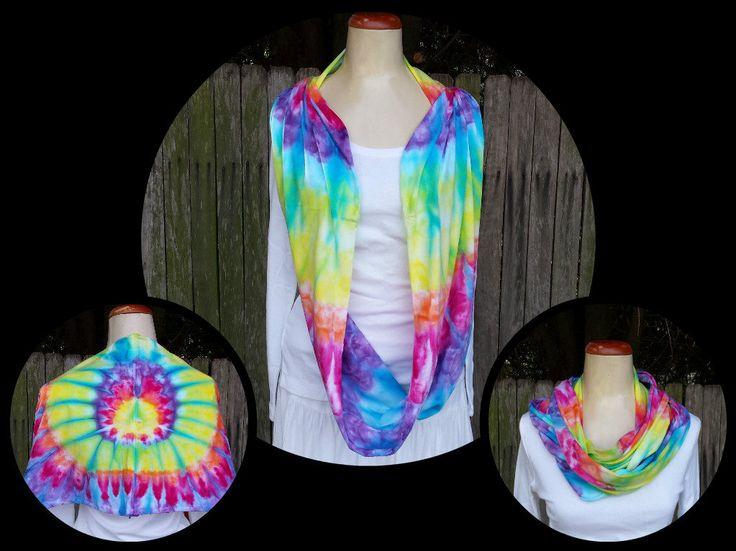 Hippie boho tie dye infinity scarf by DyingDazeTieDye on Etsy
