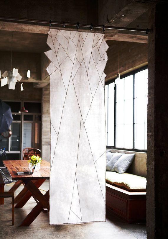 Abstrait neige tombée arbre ombre conception-Sheer espace décoration. Art coréen tissu, Jogakbo