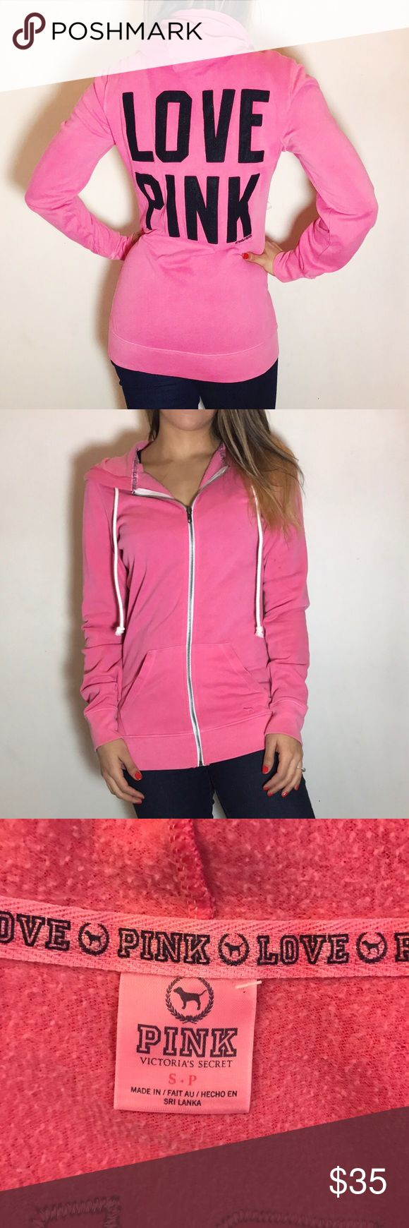 VS PINK Zip-Up Hoodie VS PINK Zip-Up Hoodie. -Size S. -Super soft fleece inside. -Bright pink. -In excellent condition.  NO Trades. Please make all offers through offer button. PINK Victoria's Secret Tops Sweatshirts & Hoodies