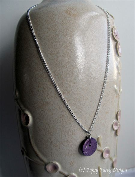 Pink, purple and grey original art button pendant with silver plated chain