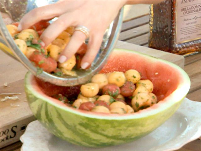 Watermelon and Cantaloupe Salad with Mint and Basil Vinaigrette Recipe : Giada De Laurentiis : Food Network - FoodNetwork.com