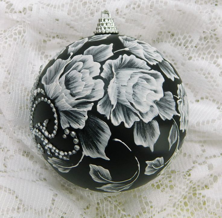 hand painted christmas ornaments | Black Christmas Ornament with Hand Painted, Textured MUD Roses and ...