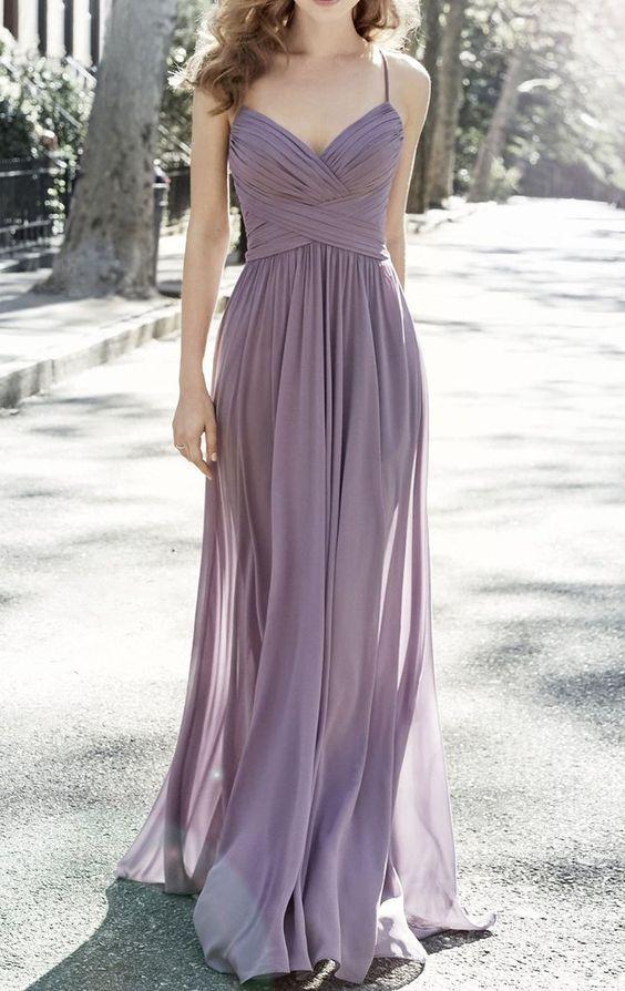 4493876456eb Charming A Line V Neck Spaghetti Straps Long Chiffon Bridesmaid Dresses  Under 100