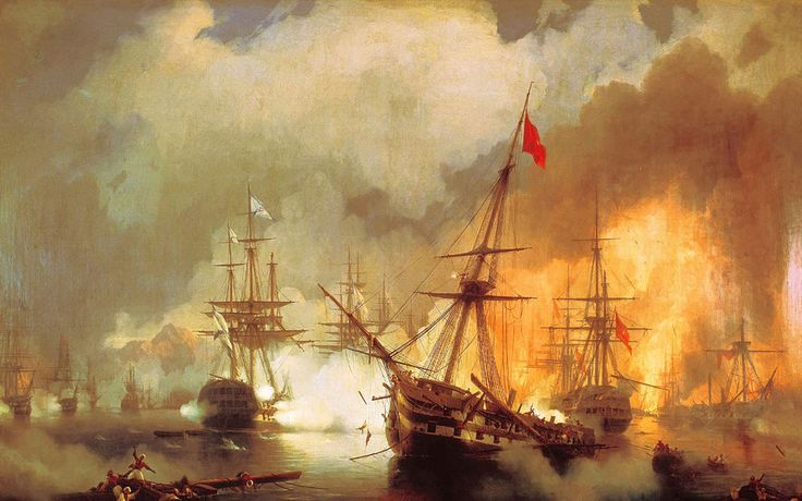 Ivan Konstantinovich Aivazovsky. The Battle of Navarino, Date: 1846. Buy this painting as premium quality canvas art print from Modarty Art Gallery. #art, #canvas, #design, #painting, #print, #poster, #decoration