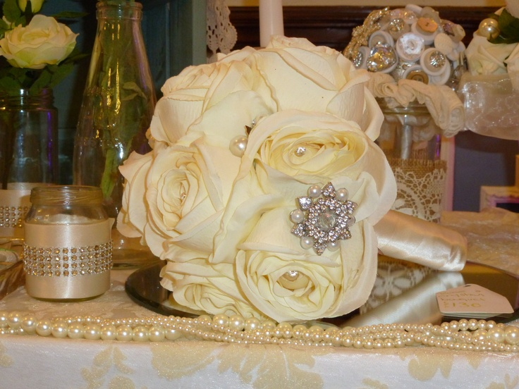 beautiful white rose and jewelled bouquet