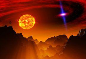 Обои горы, Планета, вселенная, свет, небо, галактика, рельеф