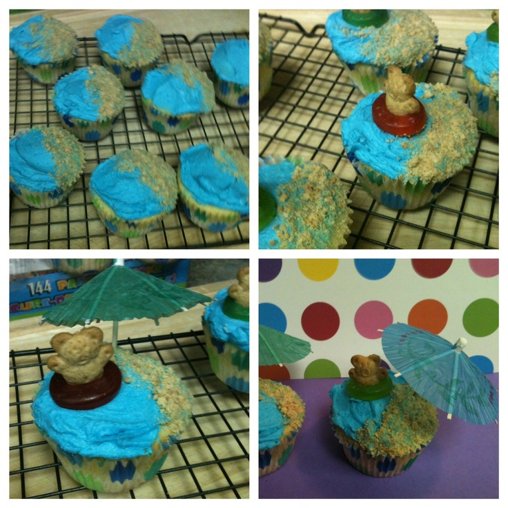 Beach cupcakes for a pool party - Just the 3 of Us Blog - http://justthe3ofus-melissachrismaddie.blogspot.com/2011/06/madisons-pool-party.html