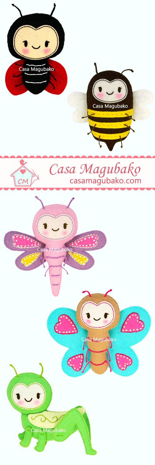 Felt Pattern: Ladybug, Bee, Dragonfly, Butterfly and Grasshopper by Casa Magubako #casamagubako, #bugs, #ornaments, #felt, #feltpattern, #sewing, #stitching, #ladybug, #bee, #dragonfly, #butterfly, #grasshopper