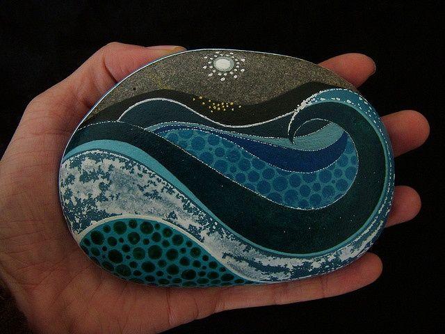 Painted rock - love this ocean waves design!