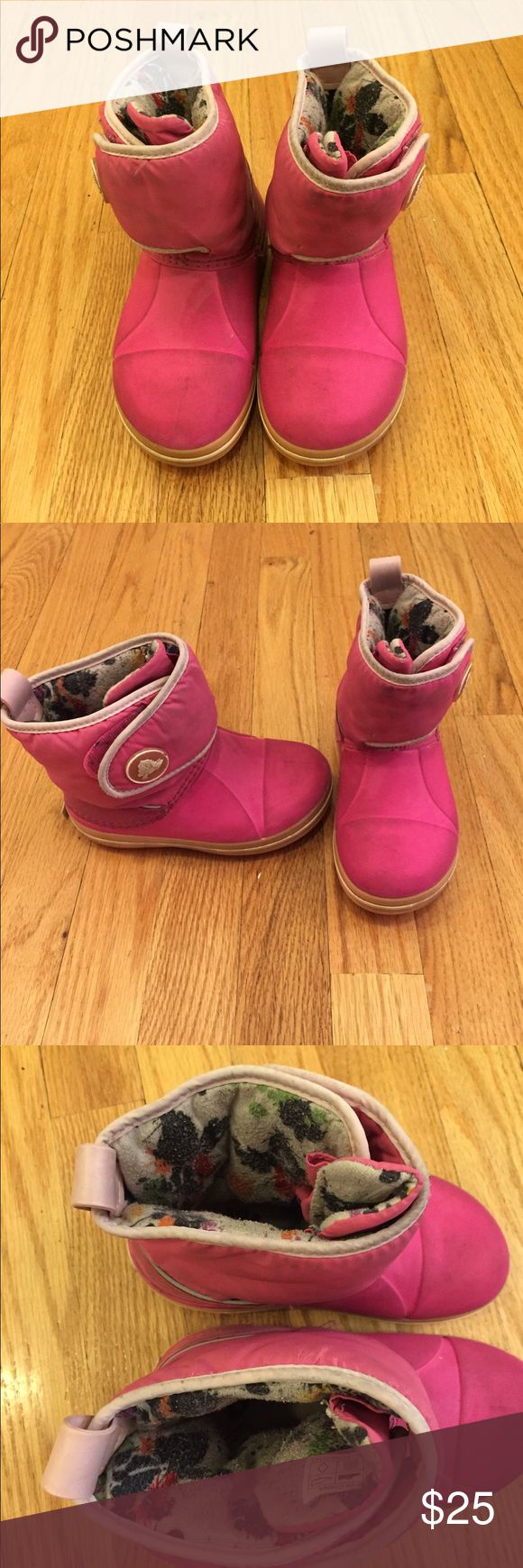 Crocs Snow Boots Pink Crocs winter snow boots with Velcro closure. See photos for wear. Size 11. CROCS Shoes Rain & Snow Boots