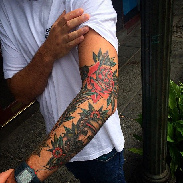 Sleeve Tattoo By Kirk Jones http://tattoos-ideas.net/sleeve-tattoo-by-kirk-jones/