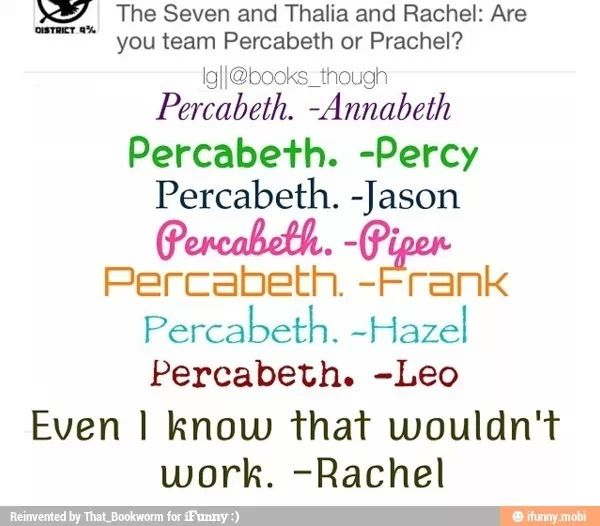 Percabeth!!! Actually, while everyone hated Rachel, i still liked her. I could tell it wouldnt work out, Percy loved(and still does) Annabeth too much. Prachel never had a chance.