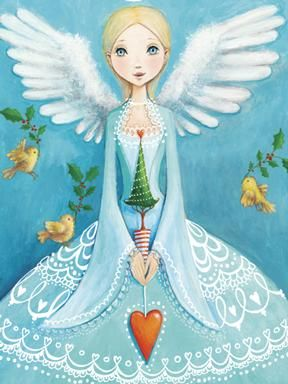 I adore the colors in this illustration of a Christmas card by Mila Marquis, with symbols of peace (doves and olive branches) and love (the heart). Lace dress is beautiful.