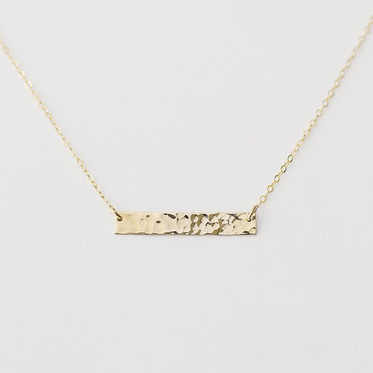 Hammered gold bar necklace 14k gold fill by MinettaJewellery, £28.00