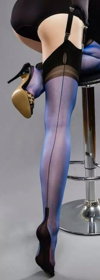 Blue seamed stockings