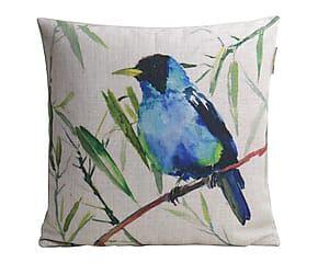Housse de coussin BIRDS lin et coton, bleu et vert - 45*45