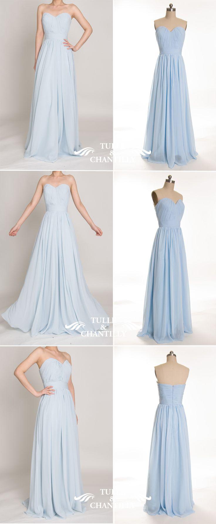 light blue sweetheart chiffon bridesmaid dresses for wedding 2015-2016