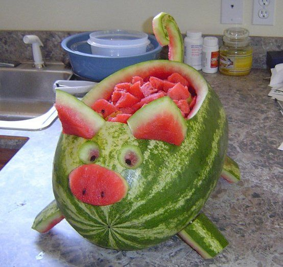 "<p>This watermelon pig is so cute and easy to make!</p> <p>Directions <a href=""http://indulgy.com/post/9fRAtdVoU1/pig-watermelon"">HERE</a></p>"