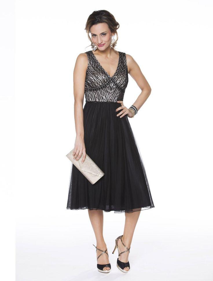 Korte tulen jurk met bustier met pareltjes in geometrische vormen  - meet 110 cm