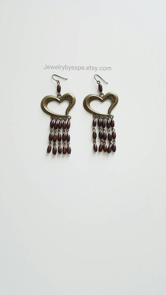 Hey, I found this really awesome Etsy listing at https://www.etsy.com/listing/252152490/brown-chandelier-earringslong-vintage