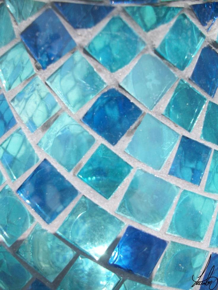 Blue glass mosaic