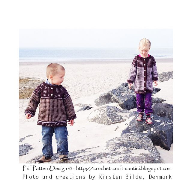 Fair Isle Style Crochet Cardigan/Pullover for Kids. Made by Kirsten Bilde in Denmark!
