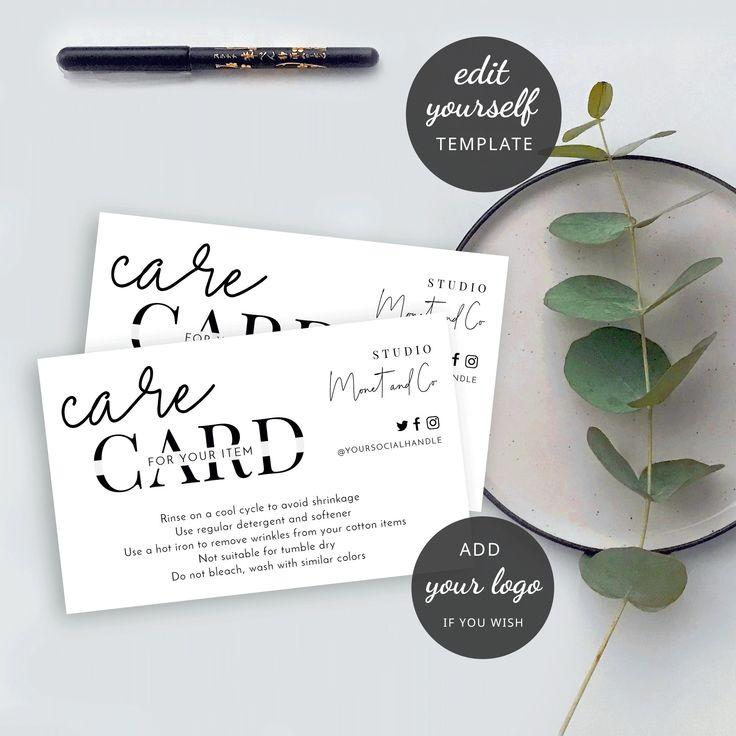 Minimalist care card template customisable care cards care