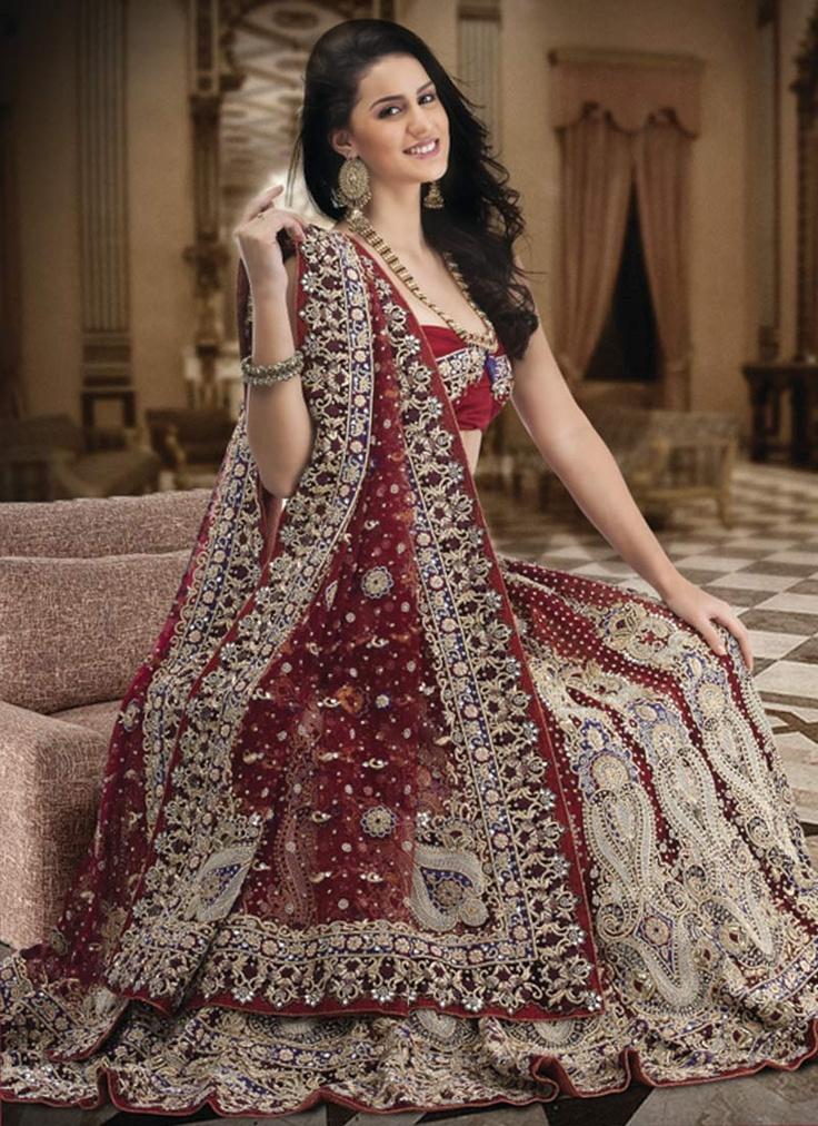 Embellished Maroon Net Lehenga Choli